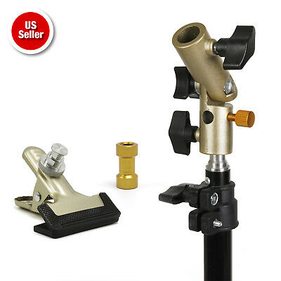 Photography Studio Gold Heavy Duty Metal Spring Clamp Umbrella Reflector Holder
