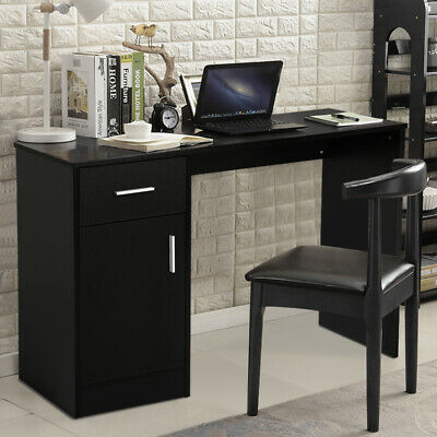 Computer Desk with Cabinet Wood PC Table Workstation Study Home Office Furniture