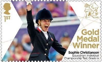 UK ParalympicsGB Gold Medal Winner Single Stamp Sophie Christiansen Test Grade