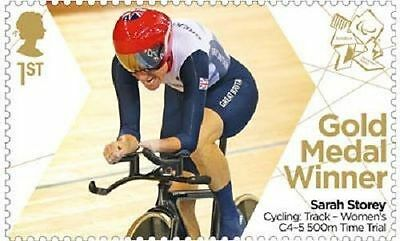 UK ParalympicsGB Gold Medal Winner Single Stamp - Sarah Storey Women's 500m C4-5