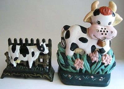 Cast Iron Metal Door Stop Napkin Letter Holder Holstein Cow Country Kitchen Lot