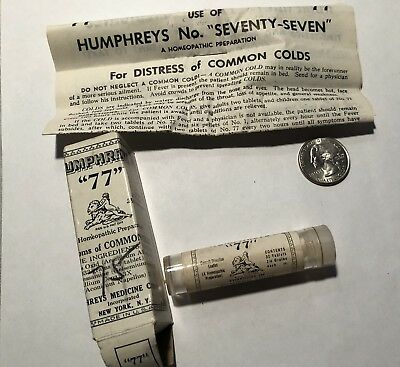 1940's Humphrey's Homeopathic Med.#77 COMMON COLD Mint In Box Full Contents