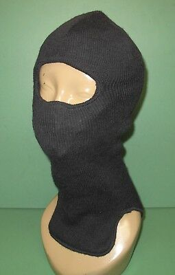 US Military Issue Black Wool Extended Cold Weather Balaclava Hood OSFA
