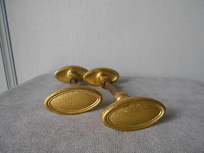 4 vintage FRENCH gilded Bronze OVAL Door HANDLES PULLS