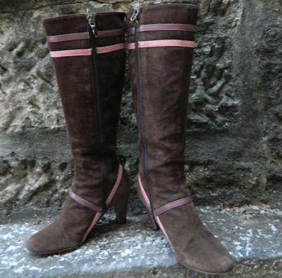 VINTAGE Alannah Hill I Love You Brown Suede Retro Boots Size 35