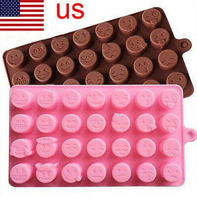Silicone Ice Candy Cute Emoji Baking Expression Chocolates Cake Mold DIY Mould P