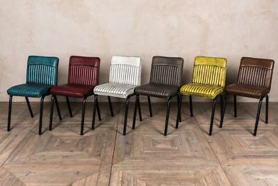 Industrial Style Ribbed Dining Chairs Range Of Colours Leather Look Cafe Chair