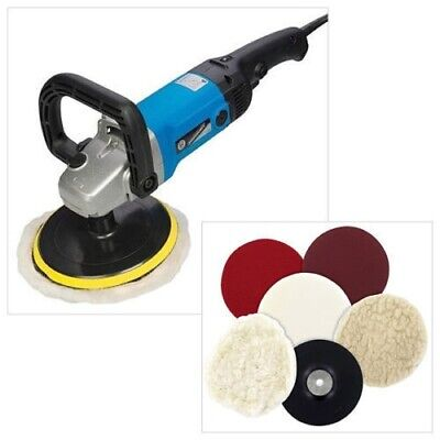 SILVERLINE 1200W 180mm SANDER BUFFER & POLISHER + 115mm SANDING & POLISHING KIT