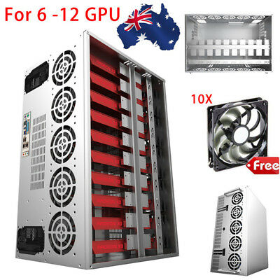 AU!! BTC Coin Open Air Mining Frame Rig Graphics Case For 6-12 GPU ETH + 10 Fans