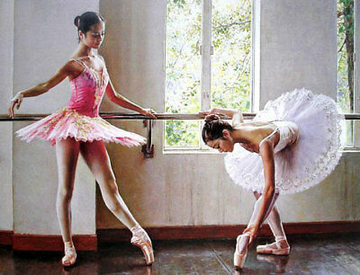 ZWPT494 hand-painted portrait two ballet girls art oil painting on canvas