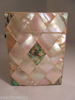 Antique Abalone & Mother of Pearl Card Case   ref 909