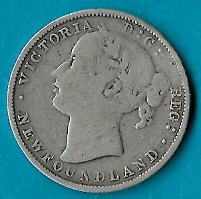 + 1880/70 Newfoundland NFLD 20c Silver Coin KM#4 Low Mintage 30,000 Rare