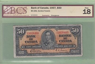 1937 Bank of Canada 50 Dollar Note - Gordon/Towers - BCS Graded Fine 18