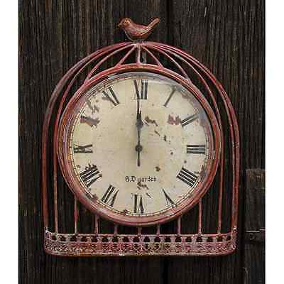 New French Country Chic Shabby Vintage Style RED BIRD CAGE CLOCK Wall Hanging