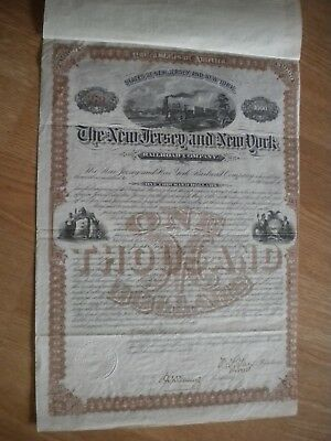 THE NEW JERSEY and NEW YORK RAILROAD COMPANY BOND  1880 - FREE SHIPPING