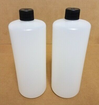 32 oz HDPE Plastic Cylinder Round Bottles w/Caps (Lot of 10)