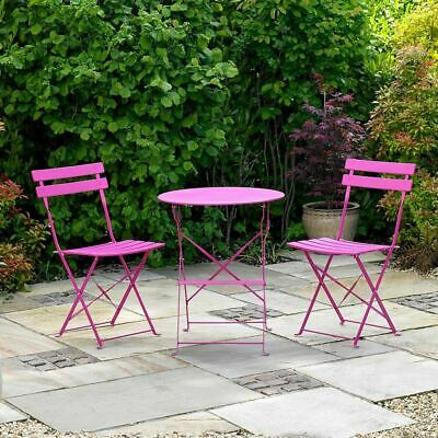 Wido 2 SEATER PINK METAL BISTRO SET FOLDING PATIO OUTDOOR FURNTURE DINING CHAIR