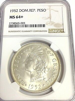 1952 Dominican Republic One Peso silver, NGC MS-64+