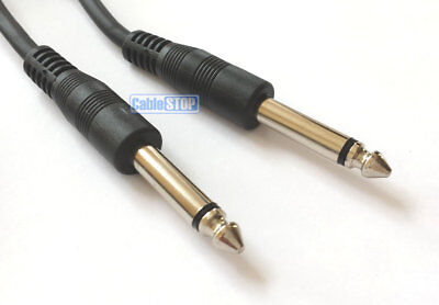 "1m 6.35 mm Mono Jack to Jack 1/4"" Plug Audio Guitar Amp Keyboard Cable Lead"