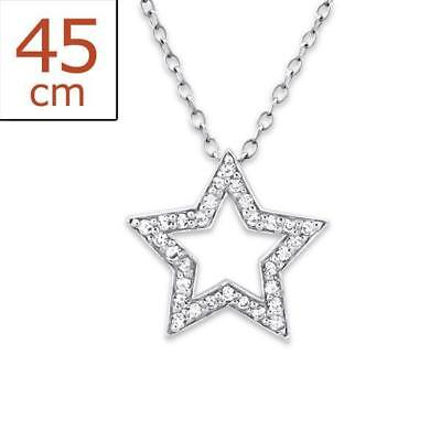 Womans Sterling Silver STAR Necklace With Gemstones Jewellery - Gift Boxed