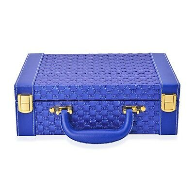 Woven Pattern Breifcase Design Double Layer Jewellery Box Mirror Inside
