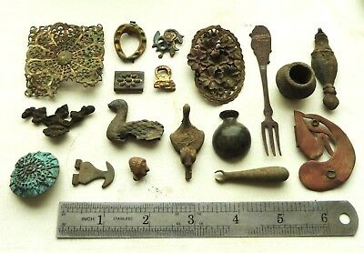 Lot Of Antique Old Bronze detecting finds (a994).