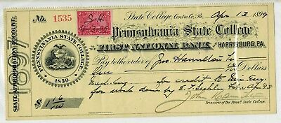 State College Pennsylvania 1899 PENN STATE COLLEGE Treasury Check $1.16
