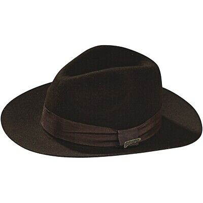 52e16449d4a Deluxe Indiana Jones Hat Adult Mens Brown Fedora Halloween Costume Accessory