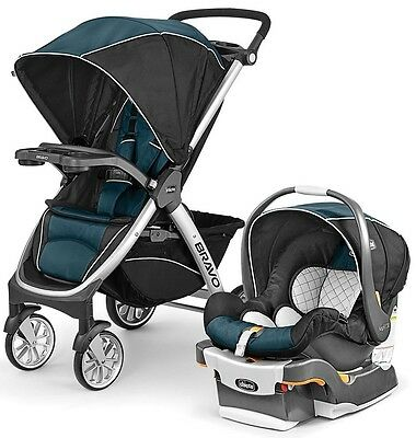 Chicco Bravo Trio 3-in-1 Baby Travel System Stroller w/ KeyFit 30 Lake NEW
