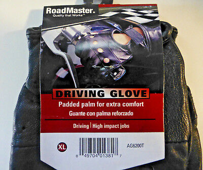 NEW ROADMASTER Black Leather Driving Gloves w/ Padded Palm  size XL