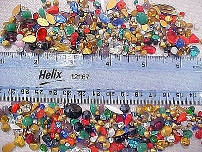 535 Huge Lot Vtg Loose Glass Rhinestones Jewelry Repair Unused Craft Findings M