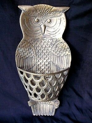 Vintage Brass Owl Large Wall Hanging Decor With Basket 15 tall x 7 Wide