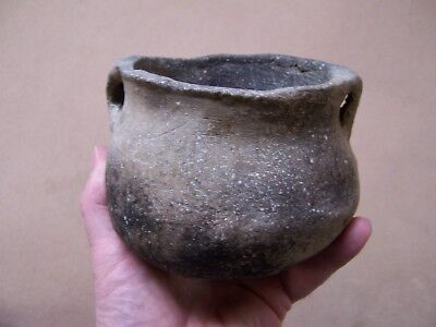 Authentic Mississippian Strap Handled Pottery Jar From Northeast Arkansas