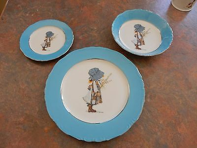 Vintage Holly Hobbie Blue Girl Set Dinner Plate Bread And Butter Plate With Bowl