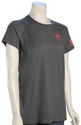 Under Armour Freedom Flag Women's T-Shirt - Charcoal Medium Heather / Pink - New