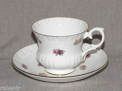 Fine Bone China Tea Cup & Saucer Crown Staffordshire England Gold Trim (F)
