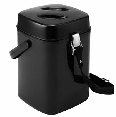 Food Jug Thermos 1.7Li Black Wide Mouth 3-Containers Inside Handle Strap Spoon