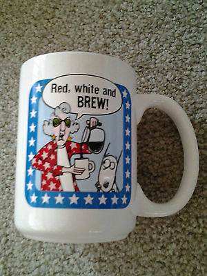 MAXINE & DOG FLOYD PATRIOITIC RED WHITE & BREW CERAMIC COFFEE MUG retired style!