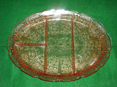 Jeannette Pink Glass Divided Platter Flower Pattern Cherry Blossom Pattern