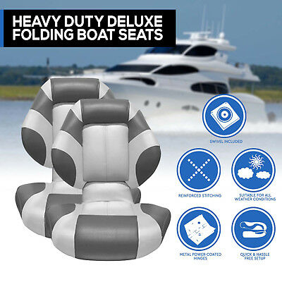 New Latest Boat Seats Deluxe Boat Folding  w/ Swivels All Weather Grey Charcoal