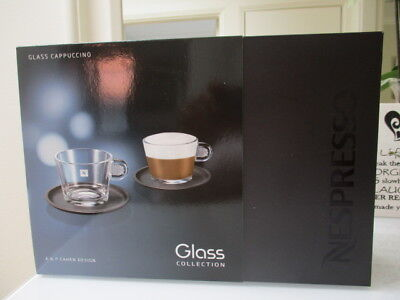 Nespresso Set Glass Collection A & P Cahen Design 2 Cuppuccino Cups & Saucer's