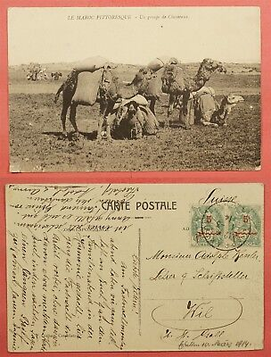 1914 France Offices In Morocco Camel Riders Postcard To Switzerland