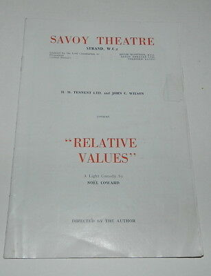 RELATIVE VALUES by NOEL COWARD - SAVOY THEATRE PROGRAMME  1952