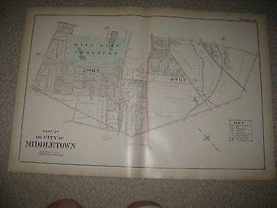 Large Antique 1903 Middletown Orange County New York Handcolor Map Cemetery Rare