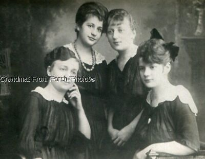 RPPC FOUR BEAUTIFUL YOUNG WOMEN ANTIQUE REAL PHOTO POSTCARD EARLY 1900s