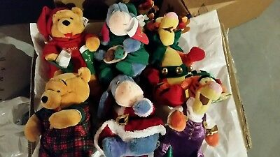Lot of 6 Large Disney Store Christmas Plush Stuffed Animals Tigger, Pooh, Eeyore