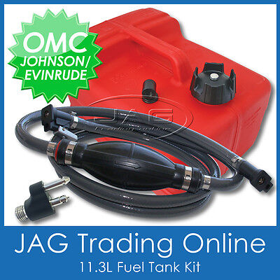 Boat Petrol Tank Kit- Johnson Omc Fuel Line & Fitting & 11.3 Litre Outboard Tank