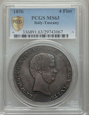 Italy / Italian States  Tuscany  1856  4 Fiorini Silver Coin Pcgs Certified Ms63