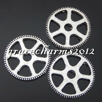 23x Vintage Silver Alloy Round Gear Wheel Pendants Findings Charms Crafts 50444