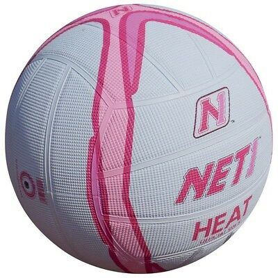 Size 4 White & Pink Net1 Heat Netball - And Indoor Or Outdoor Techni Grip Ball